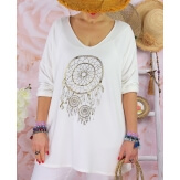 Tunique tee shirt femme grande taille STACI Blanc