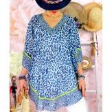 Tunique poncho grande taille été léopard BOTTI bleu Tunique été femme