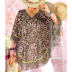 Tunique poncho grande taille été léopard BOTTI Marron-Tunique été femme-CHARLESELIE94