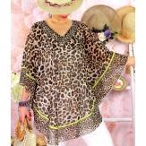 Tunique poncho grande taille été léopard BOTTI Marron Tunique été femme