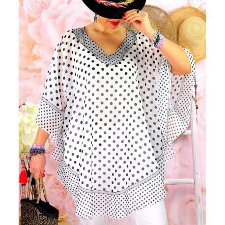 Tunique poncho grande taille été pois SUSAN Gris Tunique été femme