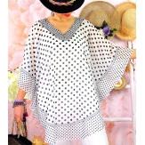 Tunique poncho grande taille été pois SUSAN Gris-Tunique été femme-CHARLESELIE94