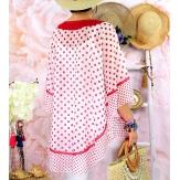 Tunique poncho grande taille été pois SUSAN Cerise Tunique été femme