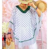 Tunique poncho grande taille été pois SUSAN Vert Tunique été femme