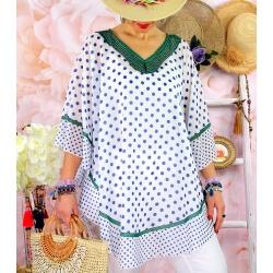 Tunique poncho grande taille été pois SUSAN Vert-Tunique été femme-CHARLESELIE94