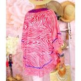 Tunique poncho grande taille été zèbre SANTA Fushia-Tunique été femme-CHARLESELIE94