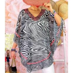 Tunique poncho grande taille été zèbre SANTA Noir Tunique été femme