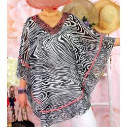 Tunique poncho grande taille été zèbre SANTA Noir-Tunique été femme-CHARLESELIE94