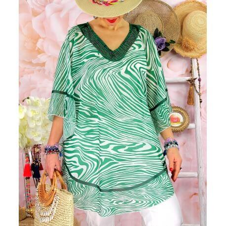 Tunique poncho grande taille été zèbre SANTA Vert Tunique été femme