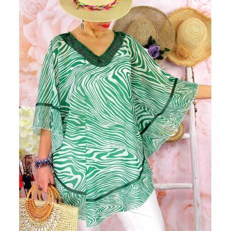 Tunique poncho grande taille été zèbre SANTA Vert-Tunique été femme-CHARLESELIE94