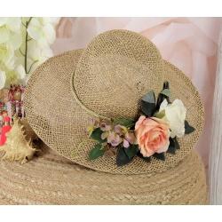 Chapeau capeline tressé fleurs fait main CH24 Rose