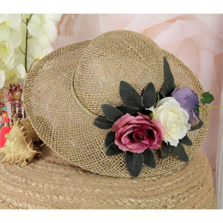 Chapeau capeline tressé fleurs fait main CH24 Violet Chapeau paille femme été