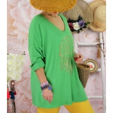 Tunique tee shirt femme grande taille STACI vert