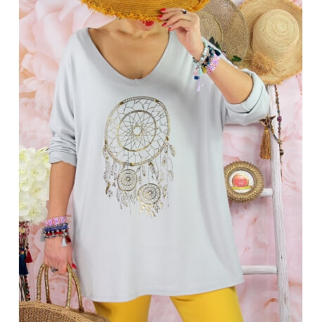 Tunique tee shirt femme grande taille STACI Gris-Tee shirt tunique femme grande taille-CHARLESELIE94