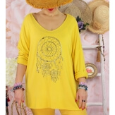 Tunique tee shirt femme grande taille STACI Jaune