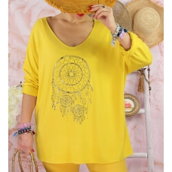 Tunique tee shirt femme grande taille STACI Jaune-Tee shirt tunique femme grande taille-CHARLESELIE94