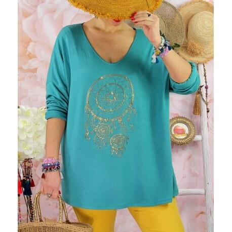 Tunique tee shirt femme grande taille STACI Vert Jade
