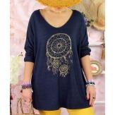 Tunique tee shirt femme grande taille STACI Bleu