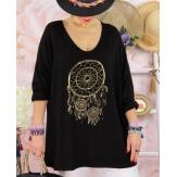 Tunique tee shirt femme grande taille STACI Noir