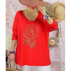 Tunique tee shirt femme grande taille STACI Rouge-Tee shirt tunique femme grande taille-CHARLESELIE94