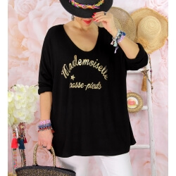 Tunique tee shirt femme grande taille MADO Noir