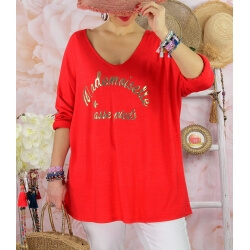Tunique tee shirt femme grande taille MADO Rouge-Tee shirt tunique femme grande taille-CHARLESELIE94