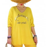 Tunique tee shirt femme grande taille MADO Jaune-Tee shirt tunique femme grande taille-CHARLESELIE94