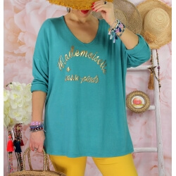 Tunique tee shirt femme grande taille MADO Vert jade-Tee shirt tunique femme grande taille-CHARLESELIE94