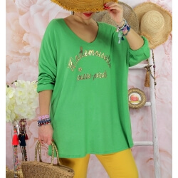 Tunique tee shirt femme grande taille MADO Vert-Tee shirt tunique femme grande taille-CHARLESELIE94