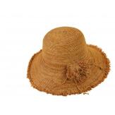 Chapeau capeline raphia fait main CH07 Camel Chapeau paille femme été