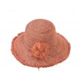 Chapeau capeline raphia fait main CH07 Rose Chapeau paille femme été
