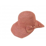 Chapeau capeline raphia fait main CH06 Rose Chapeau paille femme été