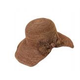 Chapeau capeline raphia fait main CH06 Chocolat-Chapeau paille femme été-CHARLESELIE94