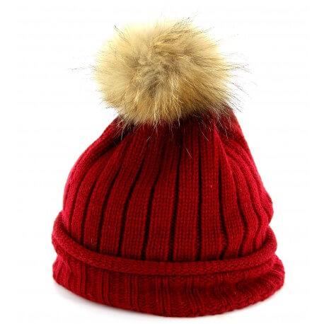 CHARLESELIE94 Bonnet MEGEVE pompon fourrure Marmotte femme homme fille tricoté
