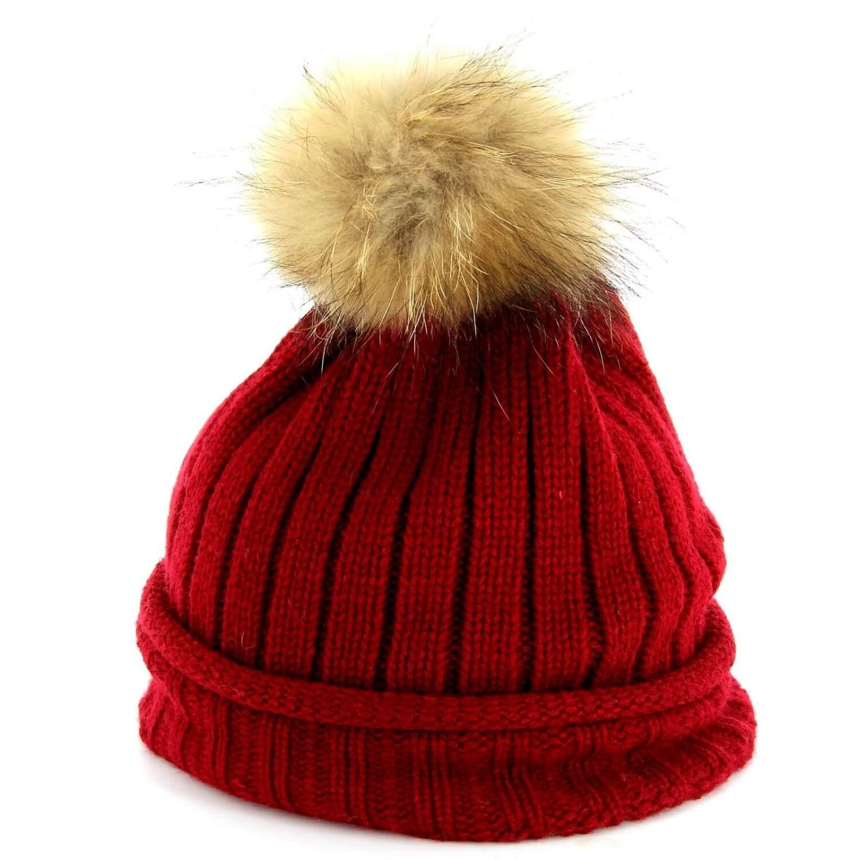 CHARLESELIE94 Bonnet MEGEVE pompon fourrure Marmotte femme homme fille  tricoté. Loading zoom be553dfe12e