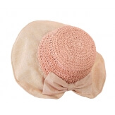 Chapeau capeline paille fait main CH41 Rose