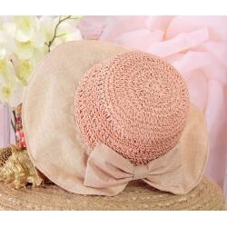 Chapeau capeline paille fait main CH41 Rose-Chapeau paille femme été-CHARLESELIE94