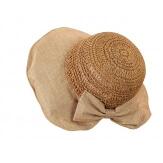 Chapeau capeline paille fait main CH41 Camel-Chapeau paille femme été-CHARLESELIE94