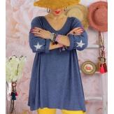 Tunique pull grande taille printemps AQUILA Bleu jean