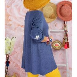 Tunique pull grande taille printemps AQUILA Bleu jean-Pull tunique femme-CHARLESELIE94