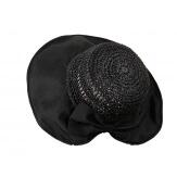 Chapeau capeline paille fait main CH41 Noir Chapeau paille femme été