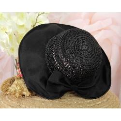 Chapeau capeline paille fait main CH41 Noir-Chapeau paille femme été-CHARLESELIE94