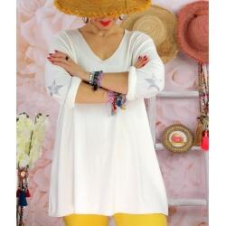 Tunique pull grande taille printemps AQUILA Blanc