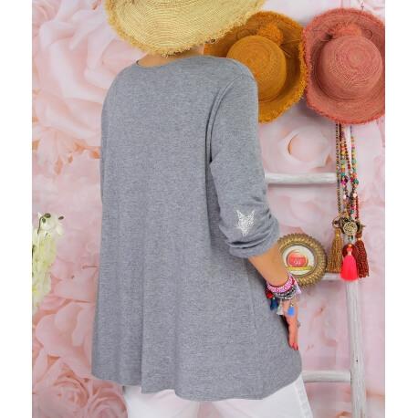 Tunique pull grande taille printemps AQUILA Gris-Pull tunique femme-CHARLESELIE94