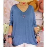Tunique pull grande taille printemps TAURUS Bleu jean