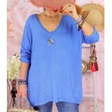 Tunique pull grande taille printemps TAURUS Bleu mer-Pull tunique femme-CHARLESELIE94