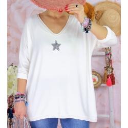 Tunique pull grande taille printemps TAURUS Blanc-Pull tunique femme-CHARLESELIE94
