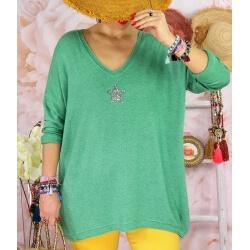 Tunique pull grande taille printemps TAURUS Vert-Pull tunique femme-CHARLESELIE94
