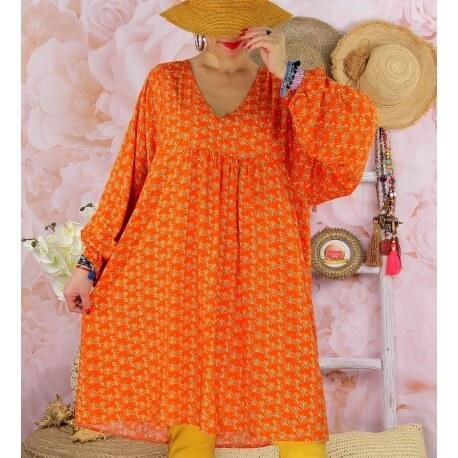 Robe tunique bohème grande taille WINDY Orange-Robe tunique femme grande taille-CHARLESELIE94