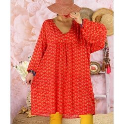 Robe tunique bohème grande taille WINDY Rouge